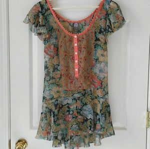 FREE PEOPLE Sheer Floral Top Tunic Multi Color
